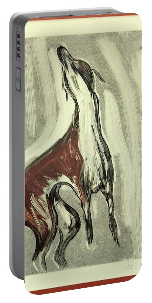 Monotype Portable Battery Charger featuring the mixed media Howling For Joy by Cori Solomon