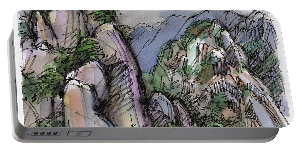 Landscape Portable Battery Charger featuring the painting Huangshan, China by Judith Kunzle