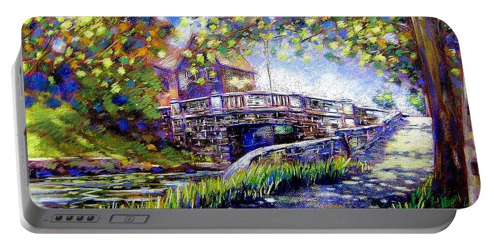 Pastel Portable Battery Charger featuring the pastel Huband Bridge Dublin City by John Nolan