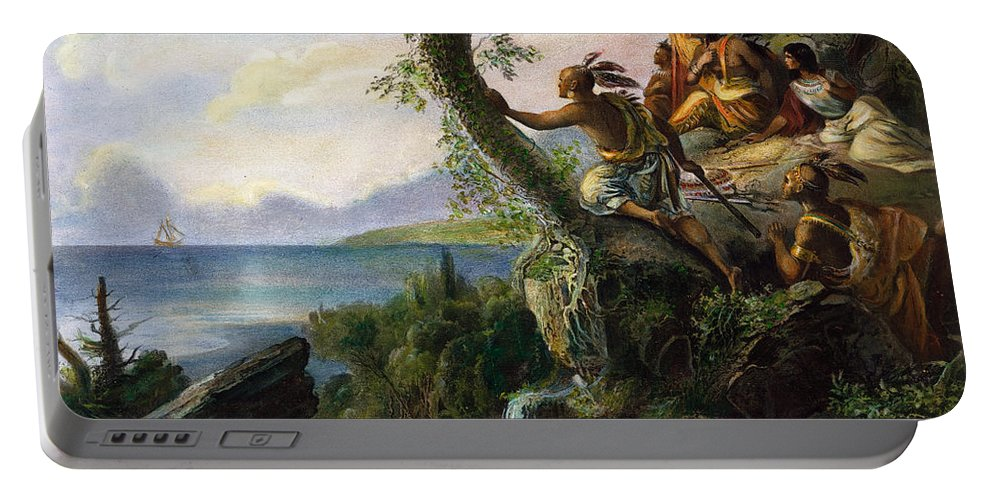 1609 Portable Battery Charger featuring the painting Hudson: New York, 1609 by Granger