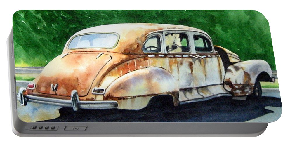 Hudson Car Rust Restore Portable Battery Charger featuring the painting Hudson Waiting For A New Start by Ron Morrison