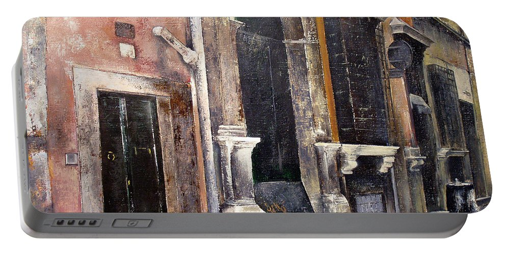 Roma Portable Battery Charger featuring the painting Huellas del pasado-Roma by Tomas Castano