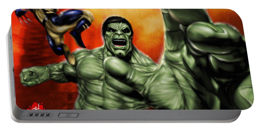 Hulk Portable Battery Charger featuring the painting Hulk by Pete Tapang