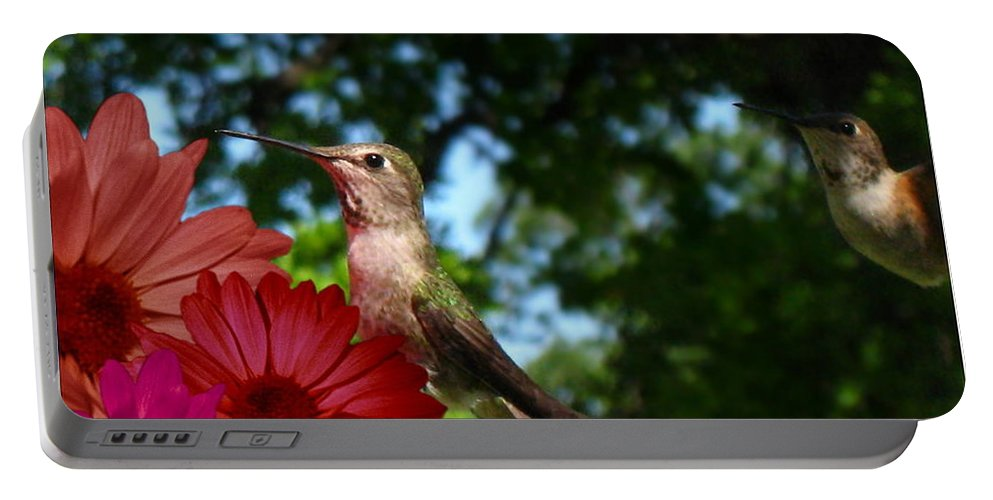 Bird Portable Battery Charger featuring the photograph Hummers And Colored Daisies by Joyce Dickens