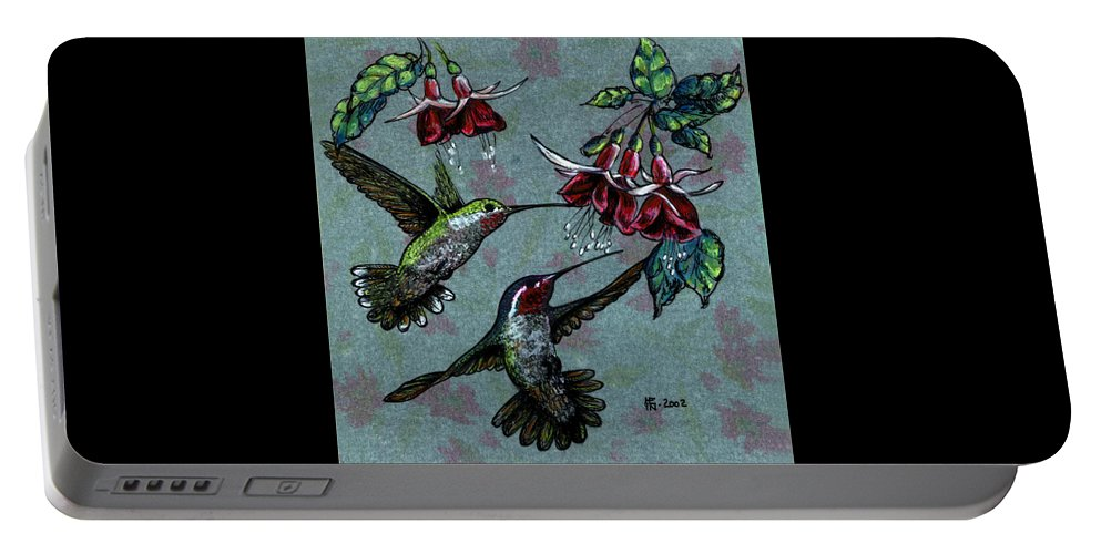Pen Portable Battery Charger featuring the mixed media Hummers And Fuchsia by Shirley Heyn