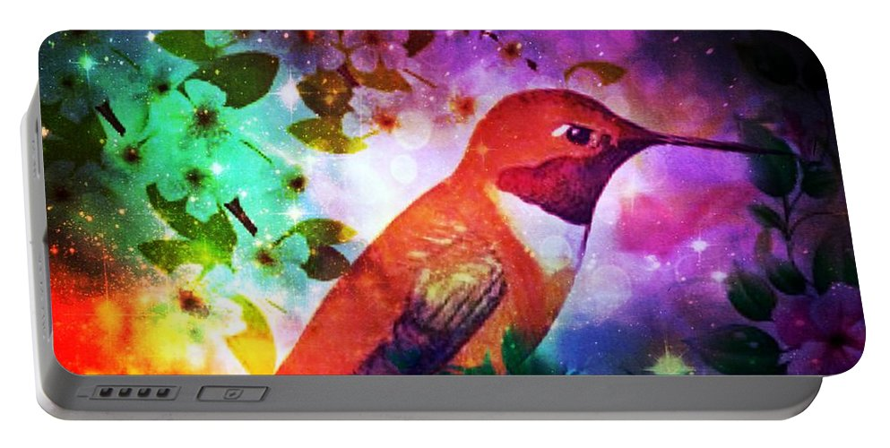 Humming The Night Away Portable Battery Charger featuring the digital art Humming The Night Away by Maria Urso