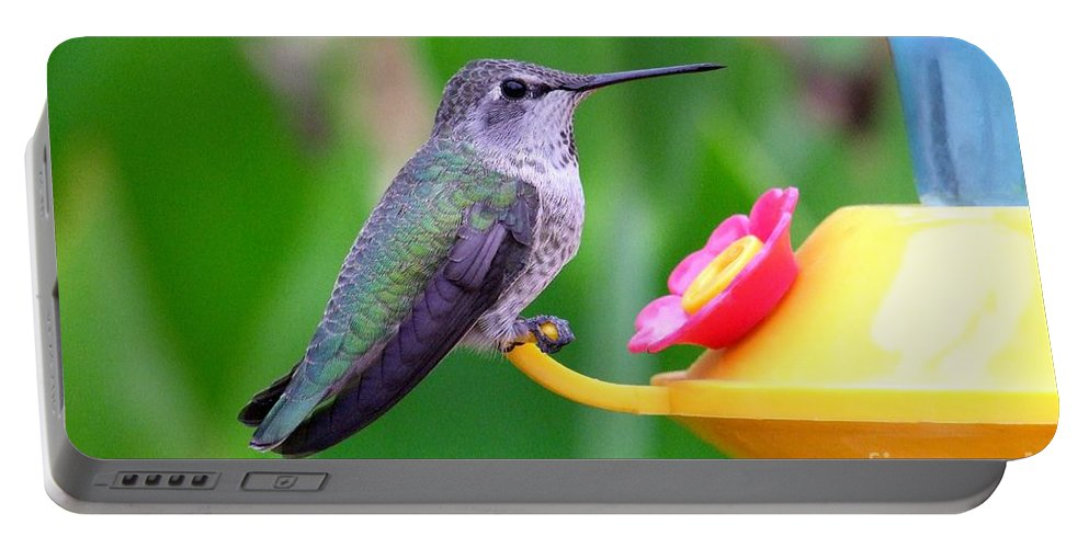 Green Portable Battery Charger featuring the photograph Hummingbird 32 by Mary Deal