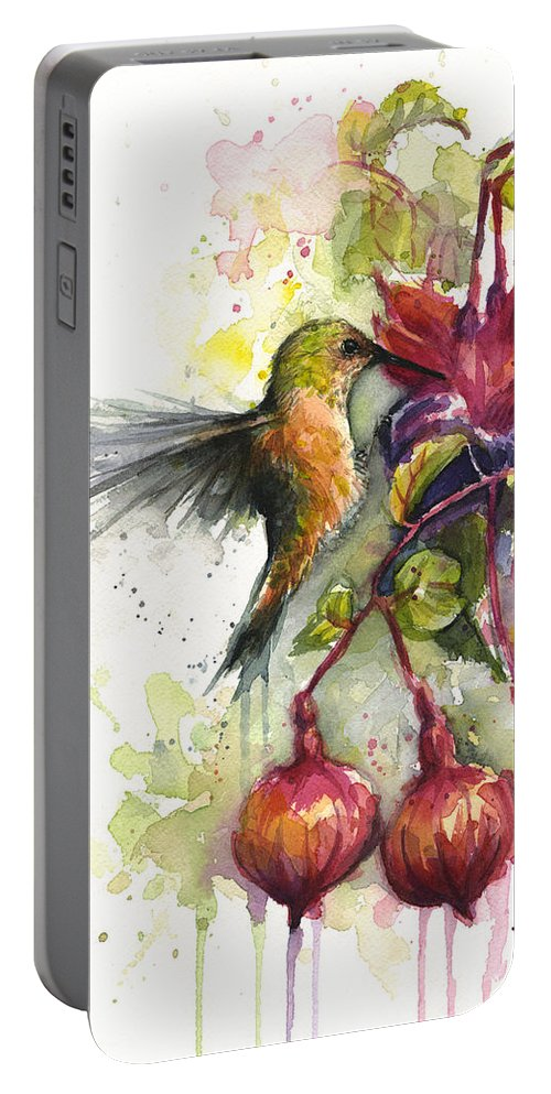 Hummingbird Portable Battery Charger featuring the painting Hummingbird and Fuchsia by Olga Shvartsur