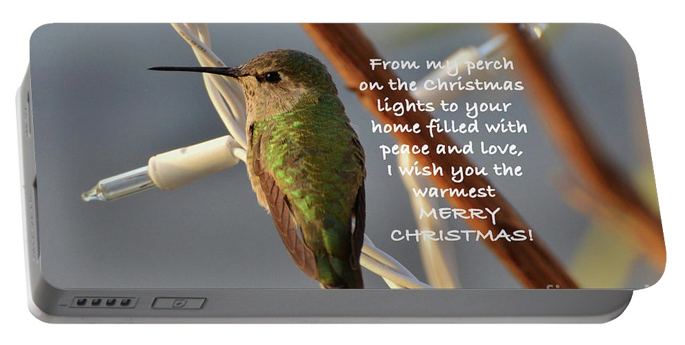 Christmas Wished Portable Battery Charger featuring the photograph Hummingbird Christmas Card by Debby Pueschel