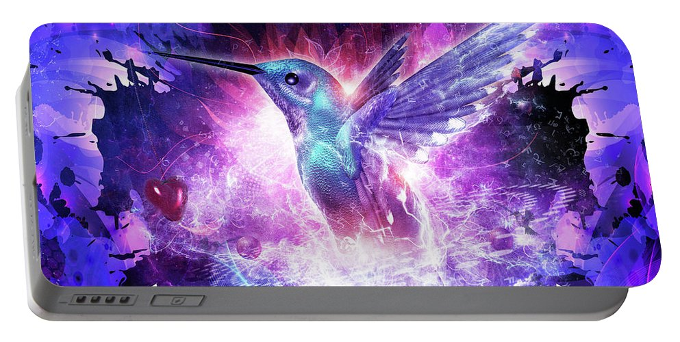 Cameron Gray Portable Battery Charger featuring the digital art Hummingbird Love by Cameron Gray