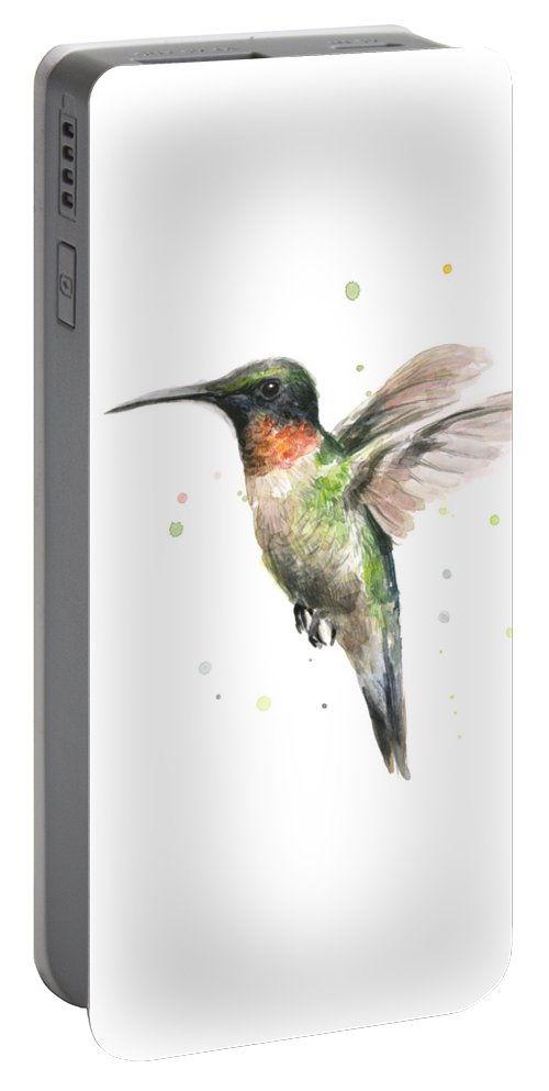 Animal Portable Battery Charger featuring the painting Hummingbird by Olga Shvartsur