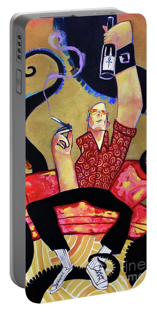 Hunter S Thompson Portable Battery Charger featuring the painting Hunter S. Thompson by Robert Phelps