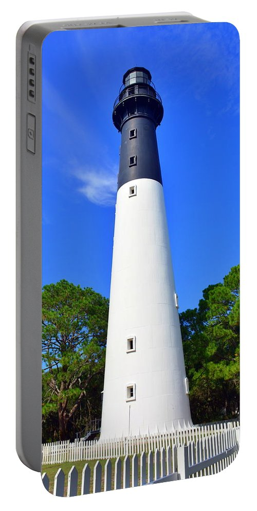 Hunting Island Lighthouse Beaufort Sc Portable Battery Charger featuring the photograph Hunting Island Lighthouse Beaufort SC by Lisa Wooten