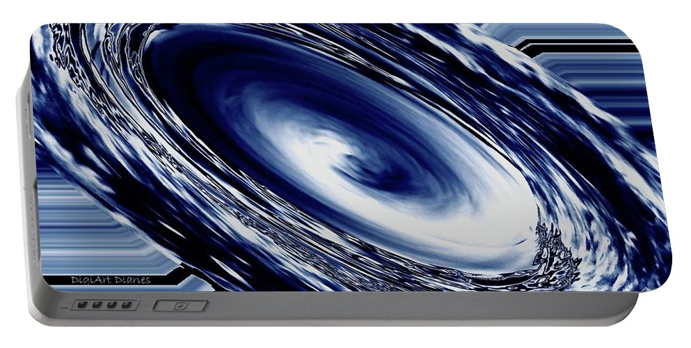 Abstract Portable Battery Charger featuring the photograph Hurricane In Space Abstract by DigiArt Diaries by Vicky B Fuller