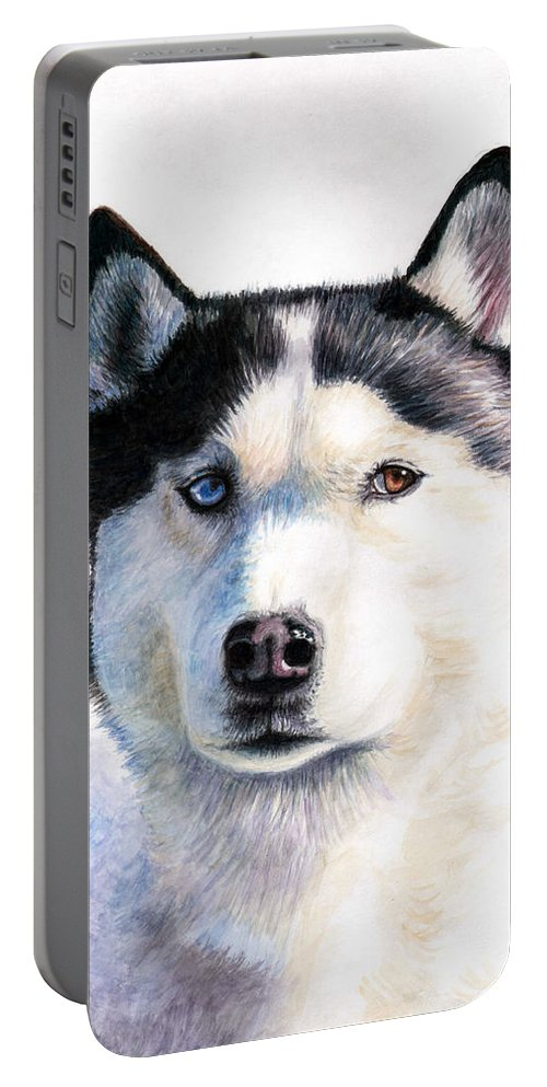 Dog Portable Battery Charger featuring the painting Husky Blue by Nicole Zeug