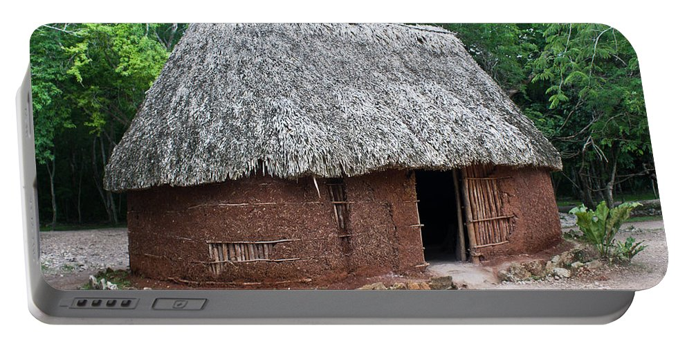Hut Portable Battery Charger featuring the photograph Hut Yucatan Mexico by Douglas Barnett