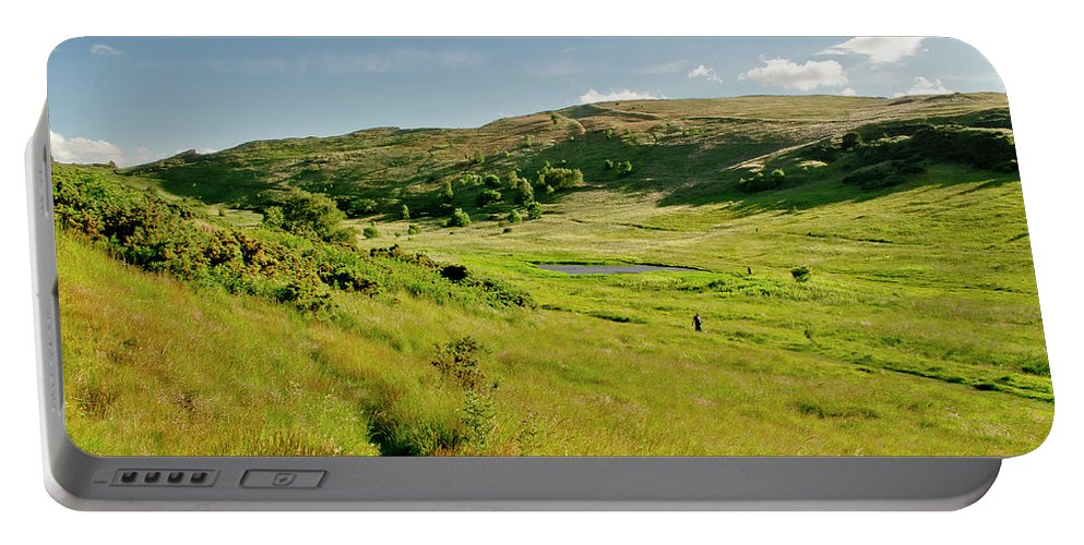 Edinburgh Portable Battery Charger featuring the photograph Hutton's Bog View. Holyrood Park. by Elena Perelman