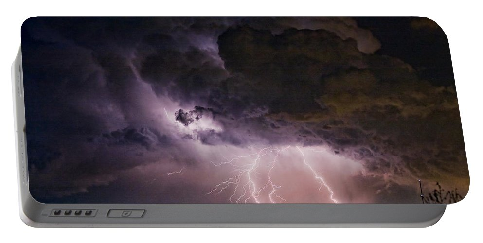 Lightning Portable Battery Charger featuring the photograph Hwy 52 - Hwy 287 Lightning Storm Image 29 by James BO Insogna