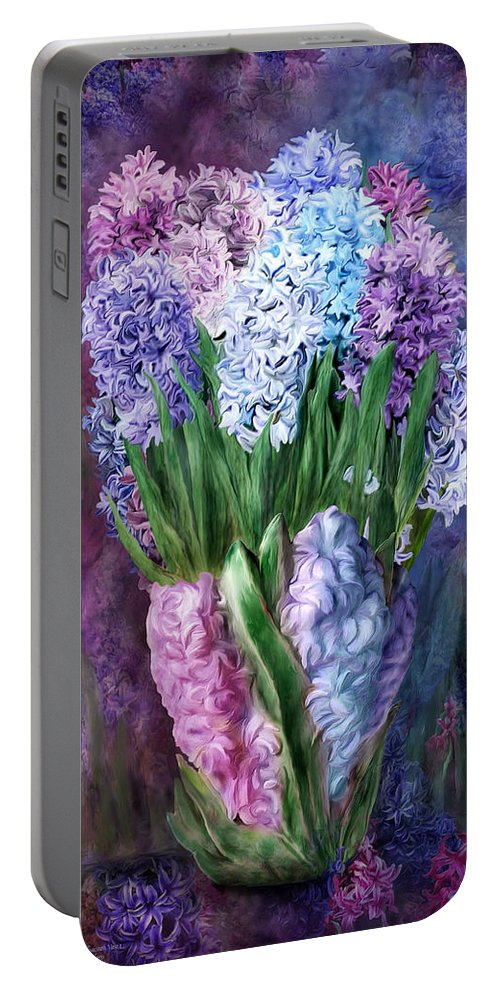 Carol Cavalaris Portable Battery Charger featuring the mixed media Hyacinth In Hyacinth Vase 1 by Carol Cavalaris