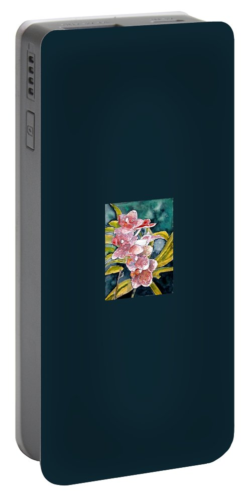 Orchid Portable Battery Charger featuring the painting Hybrid Orchids Orchid Flowers by Derek Mccrea