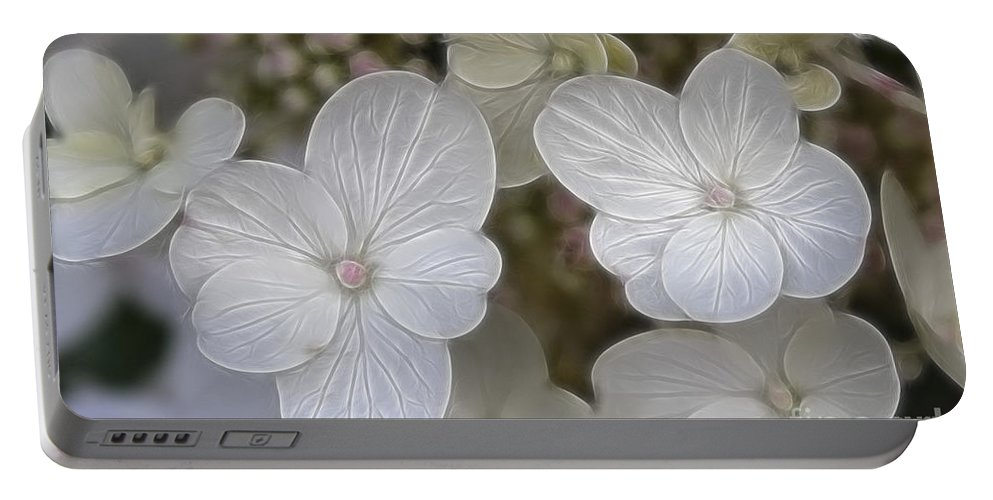 Flowers Portable Battery Charger featuring the mixed media Hydrangea Fractalius by Deborah Benoit