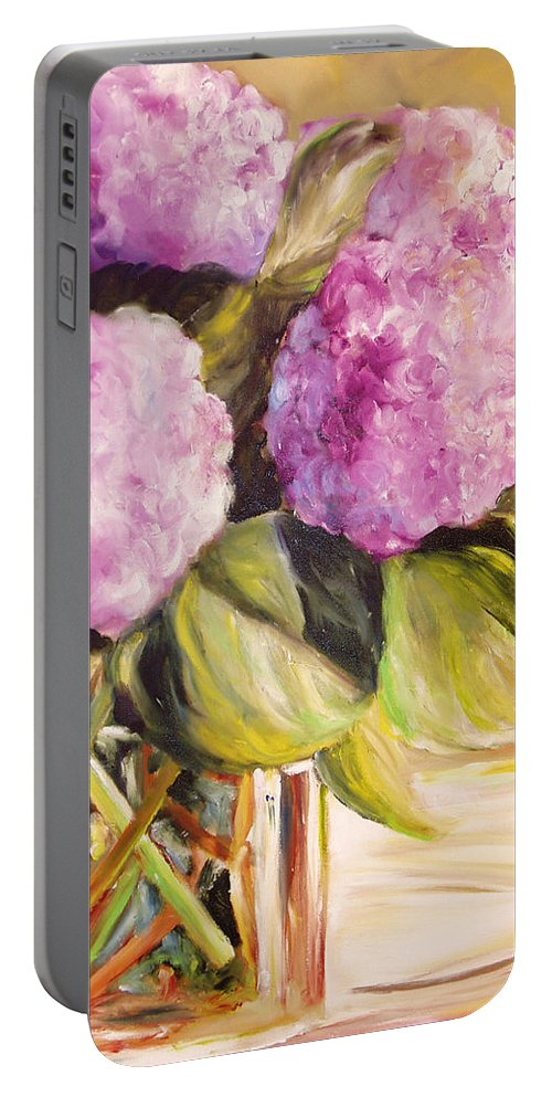 Hydrangea Portable Battery Charger featuring the painting Hydrangea Heaven by Toni Grote