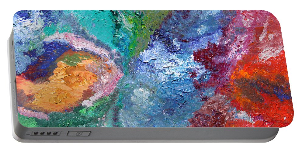 Fusionart Portable Battery Charger featuring the painting Hydrangea by Ralph White
