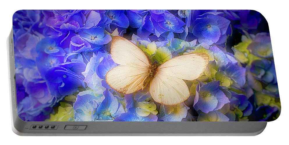 Blue Hydrangea Portable Battery Charger featuring the photograph Hydrangea With White Butterfly by Garry Gay