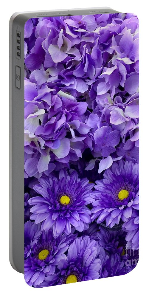 Hydrangea Portable Battery Charger featuring the painting Hydrangeas And Daisies So Purple by Saundra Myles