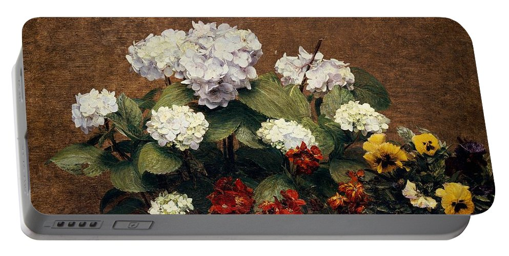 Still-life Portable Battery Charger featuring the painting Hydrangeas And Wallflowers And Two Pots Of Pansies by Henri Jean Fantin-Latour