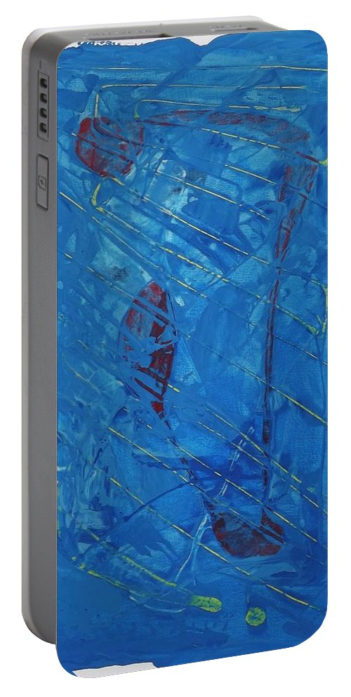 Abstract Art Portable Battery Charger featuring the painting Hypothetical Particles by John Dossman