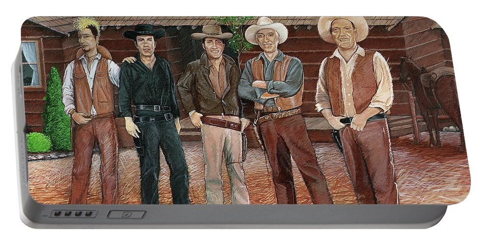 Bonanza Portable Battery Charger featuring the painting I Always Wanted To Be A Cartwright by Snake Jagger