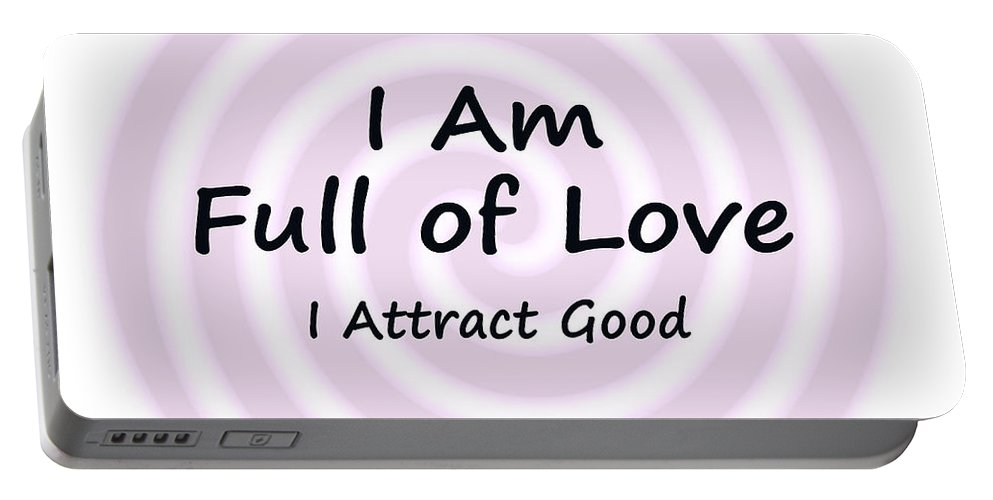 Spiral Portable Battery Charger featuring the digital art I Am Full Of Love by Peter Hutchinson