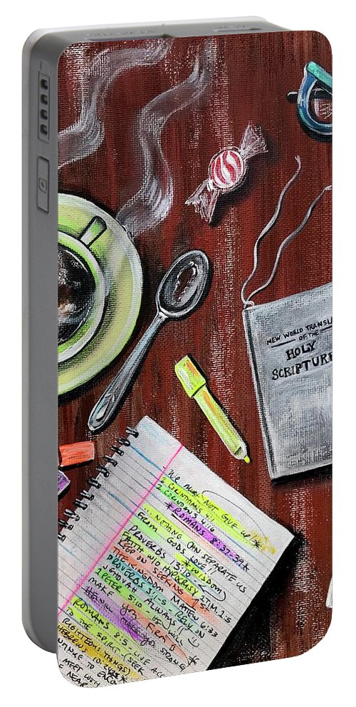 Jehovah Portable Battery Charger featuring the painting I Am Jehovahs Friend by Artist RiA