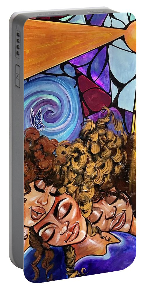Sister Portable Battery Charger featuring the painting I am my sisters KEEPER by Artist RiA
