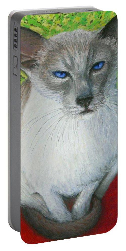 Siamese Portable Battery Charger featuring the painting I Am Siamese If You Please by Minaz Jantz