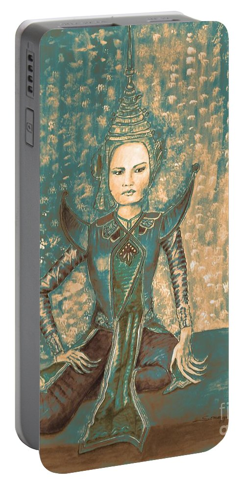 Asian Portable Battery Charger featuring the painting I Am Siamese In Teal by Jayne Somogy