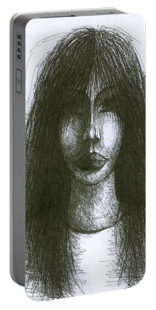 Psychedelic Portable Battery Charger featuring the drawing I Am Such Lonely by Wojtek Kowalski