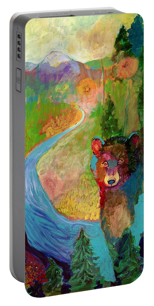 Bear Portable Battery Charger featuring the painting I Am The Mountain Stream by Jennifer Lommers