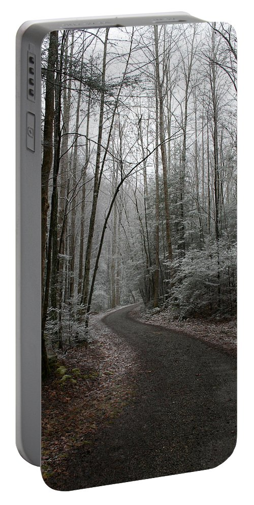 Nature Road Country Woods Forest Tree Trees Snow Winter Peaceful Quite Path White Forest Drive Portable Battery Charger featuring the photograph I Am The Way by Andrei Shliakhau