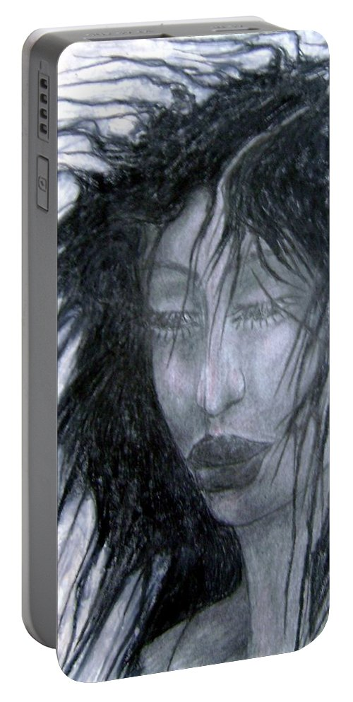 Psychedelic Portable Battery Charger featuring the drawing I Am Thoughtful Today by Wojtek Kowalski