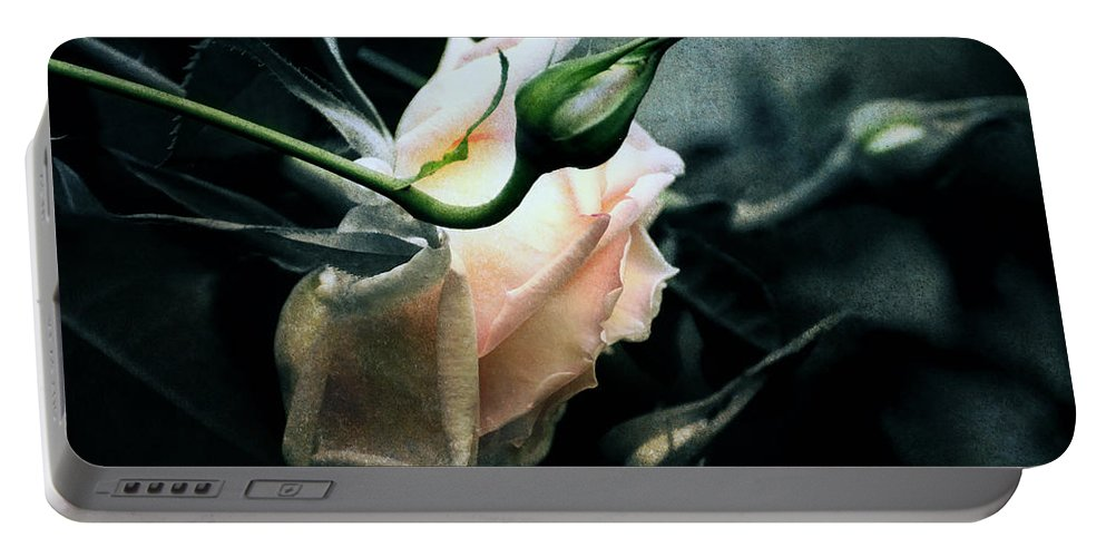 Rose Portable Battery Charger featuring the digital art I Am Your Ghost Of A Rose by Georgiana Romanovna