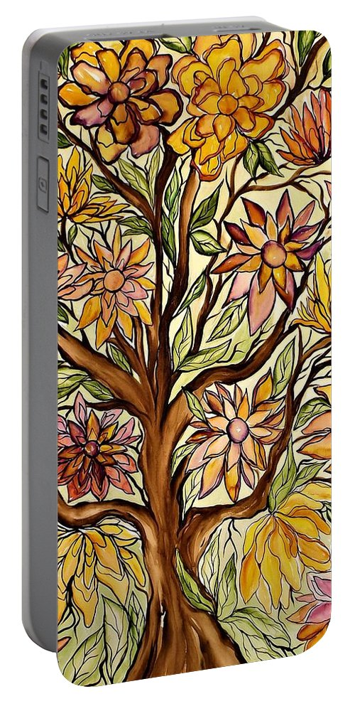 Flowers Portable Battery Charger featuring the painting I Choose Love by Lisa Aerts