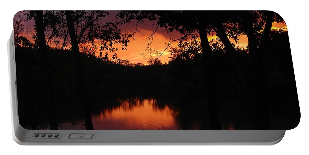Sunset Portable Battery Charger featuring the photograph I Found Red October by J R Seymour