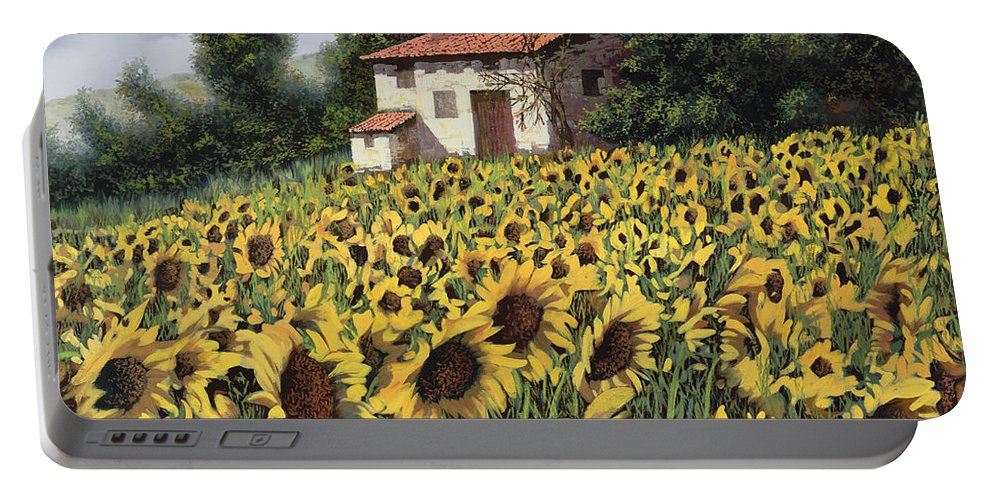 Tuscany Portable Battery Charger featuring the painting I Girasoli Nel Campo by Guido Borelli