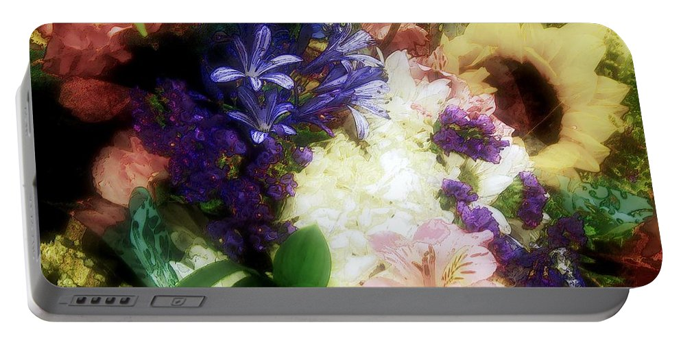 Colorful Portable Battery Charger featuring the painting I Had Flowers Once by RC DeWinter