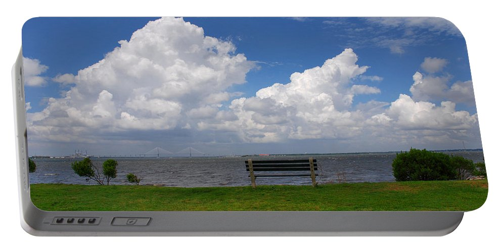 Bench Photos Portable Battery Charger featuring the photograph I Have Been Sitting There Many Times by Susanne Van Hulst