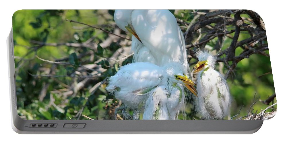 Giant Egret Portable Battery Charger featuring the photograph I Have My Hands Full by Deborah Benoit