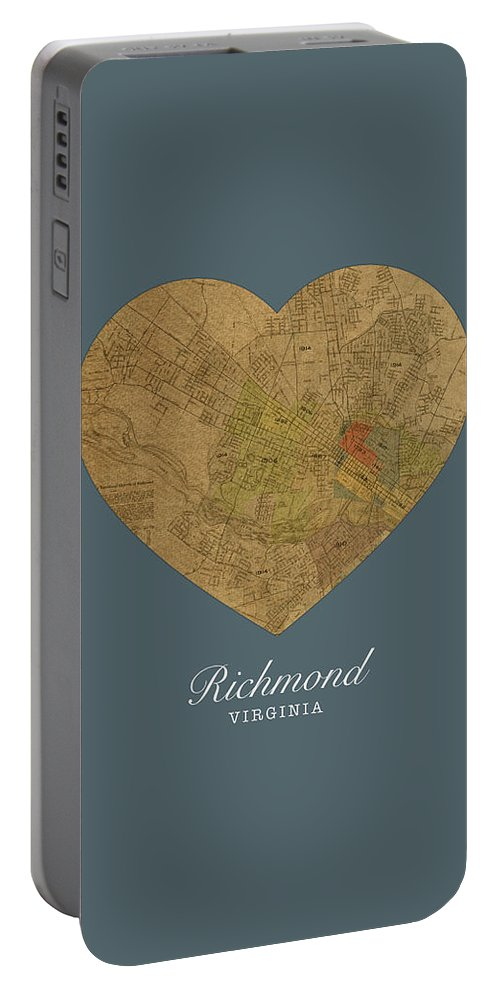 I Heart Portable Battery Charger featuring the mixed media I Heart Richmond Virginia Street Map Love Americana Series No 057 by Design Turnpike