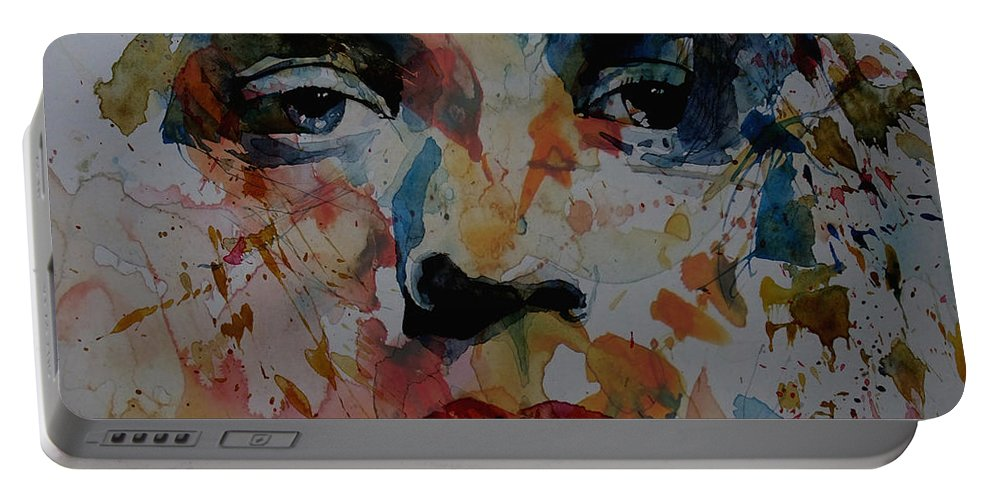 Mick Jagger Portable Battery Charger featuring the painting I Know It's Only Rock N Roll But I Like It by Paul Lovering